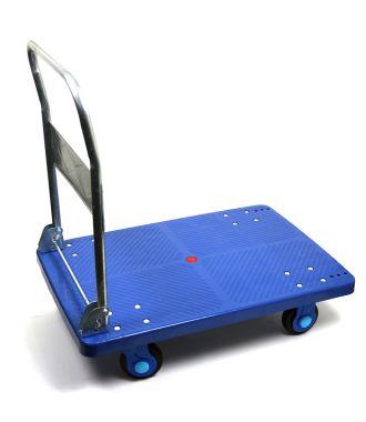 Chariot de manutention en plastique avec timon pliable, capacité de charge de 300 kg
