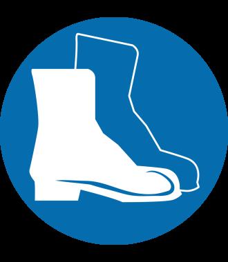 Pictogramme pour sol anti-dérapant : « Chaussures de sécurité obligatoires » ;