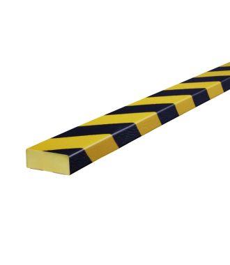 Profilé de protection pour les surfaces planes Knuffi, type D - jaunes/noires - 5 mètre