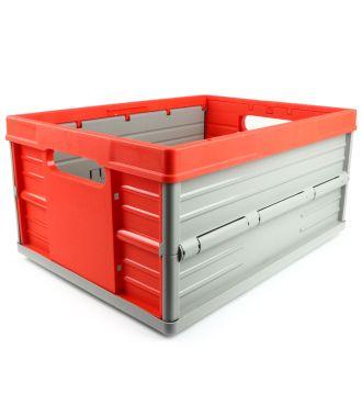 Caisse pliable - 32 litres - rouge et gris