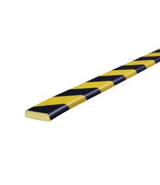 Profilé de protection pour les surfaces planes Knuffi, type F - jaunes/noires - 5 mètre