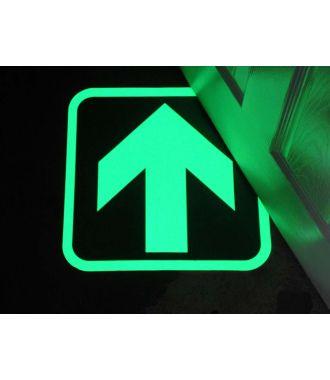 La flèche photoluminescente indique les voies de sortie