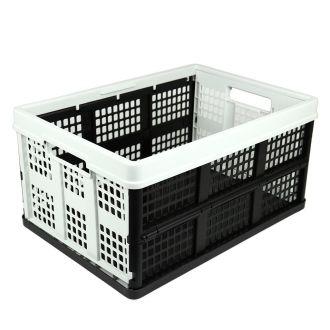 Caisse pliable - 46 litres - gris clair et noir